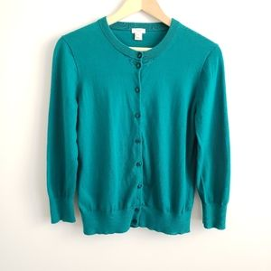 J. Crew Teal The Clare Cardigan